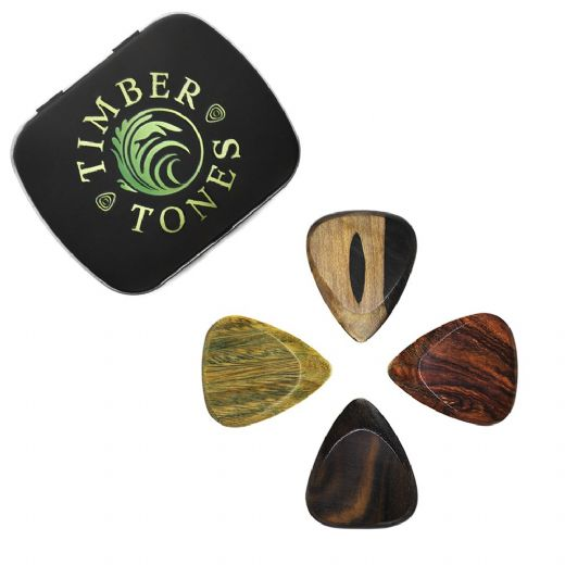 Timber Tones Fat Mixed Tin of 4 Guitar Picks